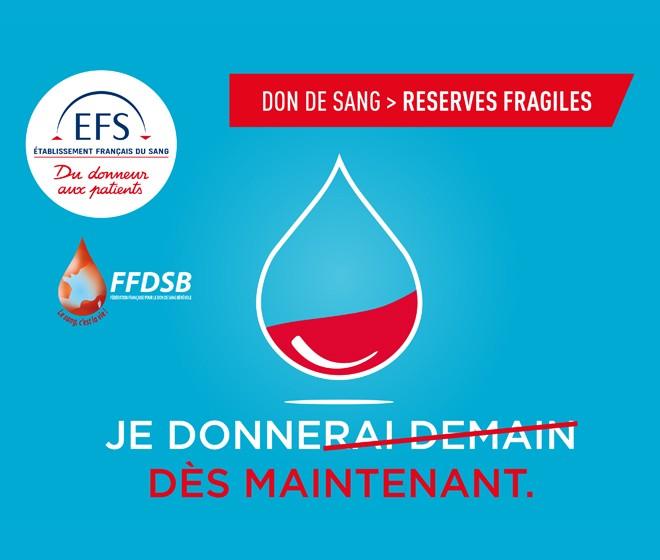 Opération Don du sang ce mercredi au Stade Montpied