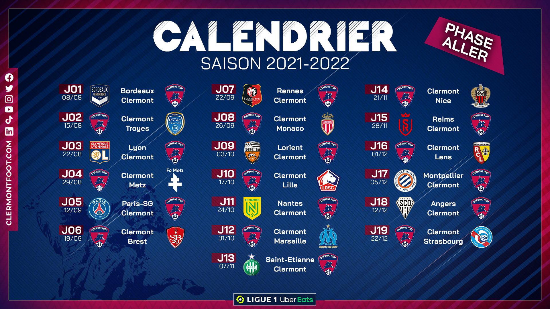 Calendrier Football 2022 Le calendrier de Ligue 1 2021/2022 dévoilé ! – Clermont Foot